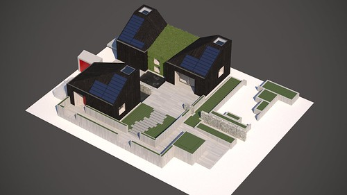 Aerial drawing of house from Washington State, as it is planned for the competition site for Solar Decathlon 2017.