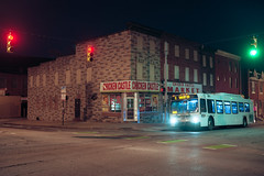 (patrickjoust) Tags: johnstonsquare baltimore maryland chickencastle bus cornerstore fujicagw690 kodakektar100 6x9 medium format c41 color negative film 90mm f35 fujinon lens cable release tripod long exposure night after dark manual focus analog mechanical patrick joust patrickjoust usa us united states north america estados unidos