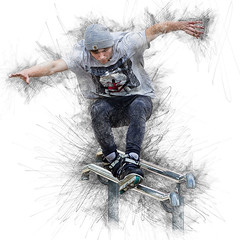 Skaters in Abstract 2 (Mike Franks) Tags: abstract photoshop artistic skaters 300mm skate grinding