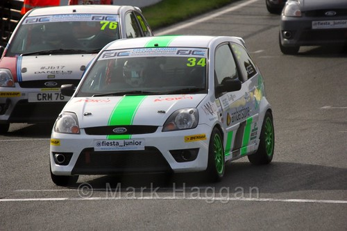 Michael Higgs and Carlito Miracco on the grid for Fiesta Junior Championship, Brands Hatch, 2015