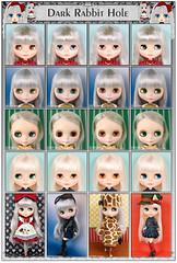 Neo Blythe Comparison: Dark Rabbit Hole (DRH/1st Row), Kiss Me True (KMT/second row), Cappuccino Chat (CapCha/third row) and Cadence Majorette (CM/last row)