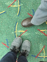 My Sister and her friends feet on The Carpet (BrandyVSOP) Tags: white feet oregon standing portland carpet foot airport shoes outdoor or famous indoor international rug pdx