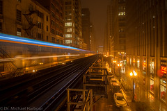 Blue Streak on State (mharbour11) Tags: november chicago night train subway gold cityscape purple l thel palmerhouse theblueline
