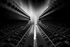 Launcher (fredMin) Tags: travel white black building monochrome architecture skyscraper hongkong fuji central pad twin fujifilm launch xt1 skancheli