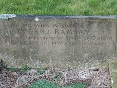 Ramsey, Baker, Dudley Weetslade Cemetery, North Tyneside, England, UK, 2/2006 In loving memory of Roland Ramsay dearly beloved husband of Mary A. Baker who died 23rd December 1952 aged 50 years (SteveT0191) Tags: ramsay baker monumentalinscription headstone cemetery churchyard graveyard dudley weetslade grave tombstone dudleyweetsladecemetery geolocated
