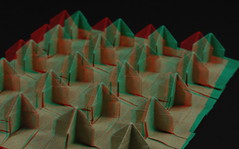 Bed of Nails 3D Tessellation — anaglyph image (Michał Kosmulski) Tags: origami tessellation bedofnails nails spikes sharp pointed pointy yoga yogi bed board anaglyph 3d redcyanglasses elephanthidepaper michałkosmulski