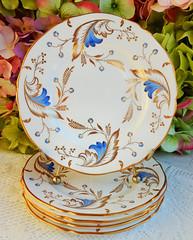 Vintage Grosvenor English Porcelain Dessert Plates ~ Royce ~ Gold (Donna's Collectables) Tags: vintage grosvenor english porcelain dessert plates ~ royce gold