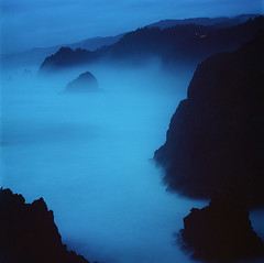 The day's shroud (Zeb Andrews) Tags: hasselblad film mediumformat oregon oregoncoast twilight bluehour indiansands pacificnorthwest pacificocean 6x6 kodakektar100 blue coast ocean