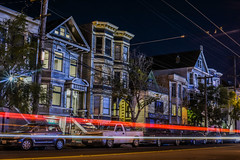 bryant street victorians (pbo31) Tags: winter 2017 pbo31 boury bayarea nikon d810 sanfrancisco california january lightstream motion traffic roadway city color night dark structure missiondistrict black victorian houses row franklinsquare somisspo bryantstreet