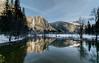 Yosemite Falls Reflection from Swinging Bridge in Color (kristinfuller) Tags: yosemite yosemitenationalpark yosemitevalley winter snow landscape nature landscapephotography