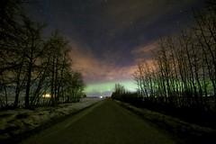 Didsbury 10:30pm (John Andersen (JPAndersen images)) Tags: aurora carstairs didsbury farm house milkyway night road rural silhouettes stars trees