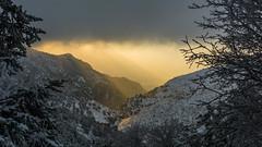 a different sunrise (HarisMichail) Tags: sunrise sunrays sun mountain snow morning parnitha mont parnes mpafi bafi