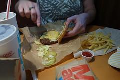 Big Mac Junior at McDonalds 2-19-17 01 (anothertom) Tags: williamsburgiowa fastfoodrestaurant mcdonalds bigmac macjunior burger food newitem fries pickles 2017 sonyrx100ii