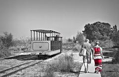 Can I walk with you? (Vitor S. Cruz) Tags: aftershotpro3 canon 400d efs18200f3556is rebelxti mix red pink train narrowgauge barril praiadobarril algarve portugal praia beach summer couple dress coloureddress vacation holidays people metal sand railway shuttle track walk walking
