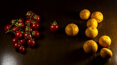 (Giuseppe Chirico) Tags: colorsinourworld colors colours colorful fruits red orange light wood table war field tomatoes helios canon eos 600d