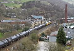 Colas Rescue And A Chimney. (Neil Harvey 156) Tags: railway 60021 60056 cornholme todmorden copypitline prestondockstanks prestontanks bitumentanks 6e32 class60 colasrail colas tug doubleheaded