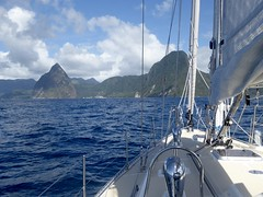 Approaching the Pitons