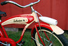 "C08512 (BarneyGoogle99) Tags: red 1948 bicycle stand tank balloon ivory tire chrome spitfire brake pedals handlebar horn schwinn coaster juvenile rods 1949 saddle dx truss grips bendix troxel 20"" mesinger"