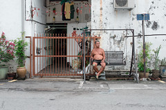 Road House, Penang || Day 13 (masterglass) Tags: city urban plants house brick metal bench gate paint swing belly topless penang swinging malaysian chill owner keeper
