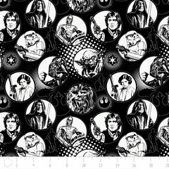 """(Camelot Cottons) Star Wars III, Characters In Circles In Black And White • <a style=""""font-size:0.8em;"""" href=""""http://www.flickr.com/photos/132535894@N06/20593868325/"""" target=""""_blank"""">View on Flickr</a>"""