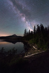 Big Lake at Night (Sandra Herber) Tags: longexposure night oregon stars mtwashington astrophotography cascades biglake milkyway