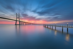 The Best Breakfast (CResende) Tags: city longexposure travel bridge blue light sky sun color portugal water architecture clouds sunrise river ar lisboa lisbon tejo d810 cresende