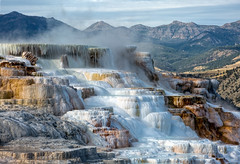 Canary Spring and Terrace, Mammoth Hotsprings, Yellowstone National Park, Wyoming. (Freshairphotography) Tags: usa nature nationalpark springs yellowstonenationalpark yellowstone sulfur travertine volcanic mammothhotsprings yellowstonepark mammothsprings canarysprings