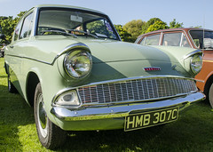 Ford Anglia (Stephen Whittaker) Tags: show old detail green classic ford car vintage point nikon close view pov retro badge 1965 anglia widnes 2015 d5100 hmb307c
