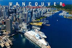 postcard - Vancouver, Canada (Jassy-50) Tags: canada water skyline vancouver skyscraper harbor britishcolumbia postcard aerial canadaplace coalharbour coalharbor cruiseterminal