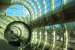 Warp (Jane Inman Stormer) Tags: california window glass lines architecture shadows sandiego circles curves sunny tunnel palm palmtrees through southerncalifornia distance repitition onepointperspective