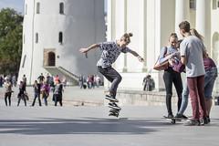 Square near Vilnius Cathedral - Wilno (Piotr Kowalski) Tags: street city church sport square jump freestyle desk board skating catedral skate skateboard skater trick oldcity lithuania vilnius plac bazylika wilno litwa deskorolka bazylikaarchikatedralna