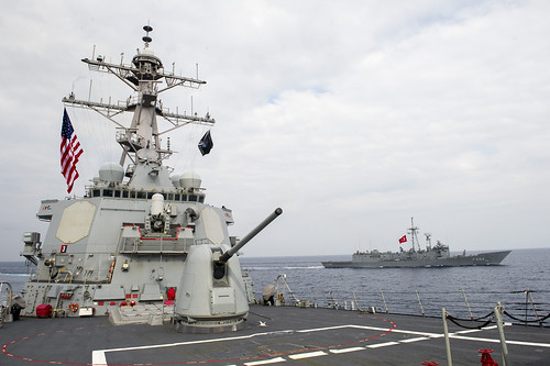 USS Gonzalez participates in a passing exercise with Turkish Navy ship.