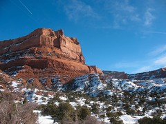 Where the Earth's Blood Flows (jennneal818) Tags: morning winter red arizona snow beautiful rocks az reservation bloodred beautifulearth lukachukai