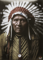 Three Horses - 1905 (Billy-Fish) Tags: color colour art history native indian photographic edward american warrior restoration curtis colourisation billyfish