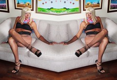 Karen (Karen Maris) Tags: tg tranny trannie tgirl tgurl crossdresser crossdress karen fishnets bodystocking legs pantyhose tights transvestite transsexual blonde scarf femme heels highheels transgender