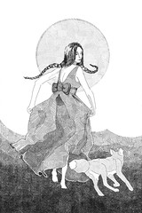 Follow Us (RadioSignals) Tags: braid woman girl pigtails dress bow running fox sun moon drawing illustration crosshatched crosshatching crosshatch black white
