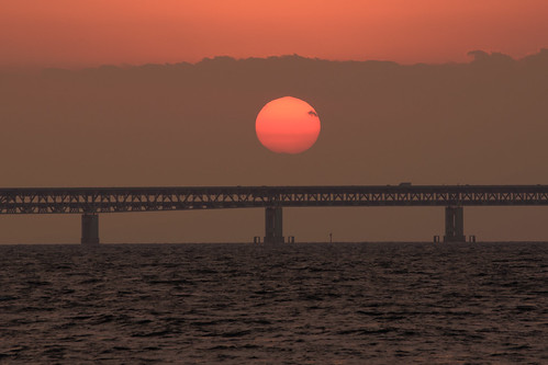 関空・夕景10・Sunset over Kanku Airport Bridge