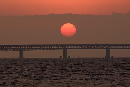 関空・夕景10・Sunset over Kanku Airport Bridge