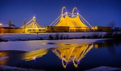Circus Casselly II (Stephan Harmes) Tags: circus winter xanten nrw germany deutschland blau mirror spiegelung bluehour blauestunde