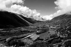 Dingboche Nepal (onefastbiker) Tags: nepal everestbasecamp sagarmatha trek dingboche olympusom4 yellowfilter ilfordpf4 film 2016