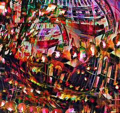 Temple in Cairo (D'ArcyG) Tags: temple cairo egypt muslim worship architecture lights lanterns vivid colorful impression abstract
