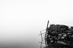 Black and White (MarkE_T) Tags: lakedistrict landscape longexposure water misty lake rydalwater smcpentaxda1645mmf4edal pentaxk5