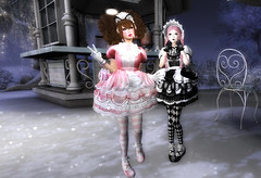 Late Night Snack (littlerowan) Tags: secondlife arcadesl sissy crossdress egl lolita sweetlolita bonnett curls petticoat pannier ruffles bows stripedsocks diamondsocks anklesocks platforms gloves catboy