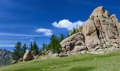Terelj (carfull...home in Mongolia) Tags: mongolia terelj tereljnationalpark granite landscape park steppes mountain sky siberian larch