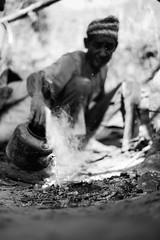 (www.dbuttifant.com/) Tags: fuji fujifilm xseries xpro1 35mm 14 nepal nepali blacksmith smelting kettle adventure portrait lifestyle fire black white bw photography