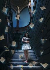Bookland (MariaMekh) Tags: world blue light red portrait white black color girl fashion stairs photoshop canon vintage silver dark hair paper mirror book amazing fantastic day g gorgeous ghost desire cs5