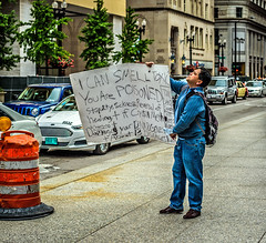 Listen Up! (piano62) Tags: chicago praying screaming salesman streetscenes streetpeople shouting toxins