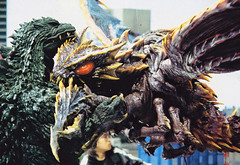 Megaguirus grappling with Godzilla in Godzilla vs. Megaguirus (2000) (Tom Simpson) Tags: film 2000 godzilla behindthescenes kaiju 2000s megaguirus godzillavsmegaguirus