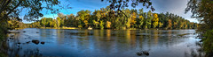 Muskegon River panorama (tquist24) Tags: autumn trees sky panorama tree fall river geotagged nikon unitedstates michigan panoramic croton hdr newaygo muskegonriver nikond5300