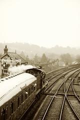 SVR 37062bwtone (kgvuk) Tags: station trains railwaystation locomotive railways steamtrain 060 svr steamlocomotive severnvalleyrailway bewdley 43924 bewdleyrailwaystation midland4f
